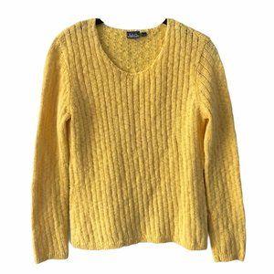 Vintage Yellow Cotton Knit Sweater medium